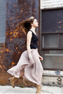 Tan-aldo-boots-black-side-cutout-white-crow-top-light-pink-maxi-skirt-white-