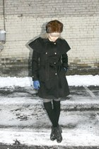 black whitecrowonlinecom coat - brown fur vintage hat - blue vintage gloves