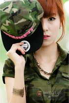 bronze tie - army green coat - army green hat - bronze bracelet