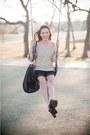 Black-dolce-vita-boots-dark-khaki-f21-sweater-black-lace-silk-gojane-shorts