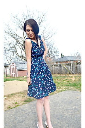 navy eShakti dress - white Charlotte Russe wedges