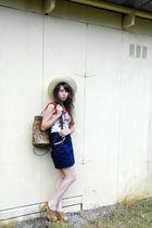 red vintage top - blue vintage skirt - beige vintage hat - brown vintage purse -