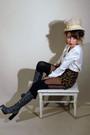 Silver-luichiny-boots-beige-vintage-hat-white-vintage-blouse-black-vintage