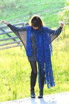 blue vintage scarf - silver vintage dress - black farylrobin boots