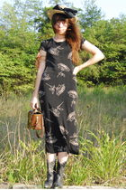 black vintage dress - brown vintage bag - black vintage shoes - beige vintage ha