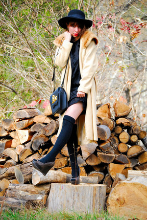 camel vintage coat - black vintage dress - black Jeffrey Campbell shoes - black
