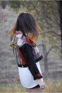 Brick-red-ethnic-vintage-jacket-off-white-vintage-blouse