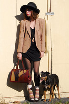 beige vintage jacket - black Topshop dress - brown vintage - beige vintage socks