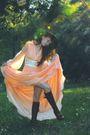 Orange-vintage-dress-brown-farylrobin-boots-black-vintage-hat