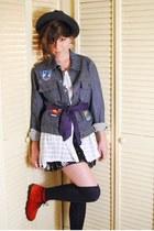 blue vintage jacket - white vintage blouse - dark gray Target skirt - navy vinta