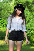 black vintage hat - white vintage shirt - black vintage shorts - brown vintage s