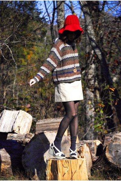 red vintage hat - white platform wedge Jeffrey Campbell shoes