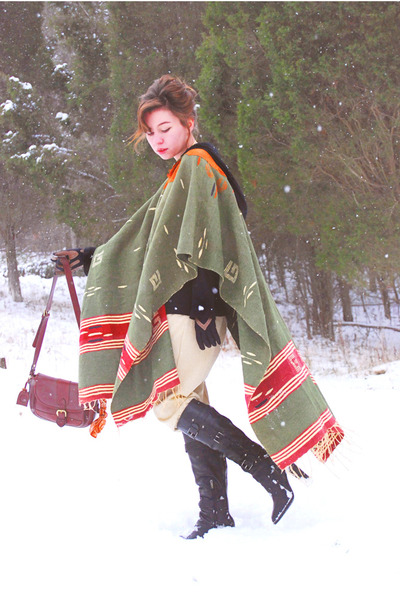 black Florentini & Baker boots - army green poncho vintage coat - brown leather