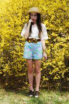 white vintage top - brown vintage belt - blue vintage shorts - brown vintage sho