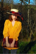 mustard vintage blouse - beige straw vintage hat