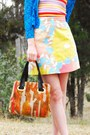 Dark-brown-kilty-vintage-shoes-burnt-orange-carpet-vintage-bag-light-yellow-