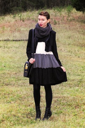 black tuxedo vintage jacket - black vintage shoes - black Anthropologie dress