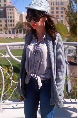 vintage boots - jeans - knit cap hat - ribbed cardigan sweater - shirt