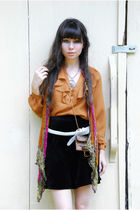 orange vintage blouse - black vintage skirt - white vintage belt - brown vintage