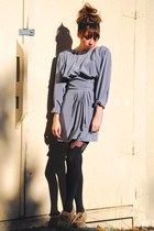 silver vintage dress - black House of Holland tights - brown vintage shoes