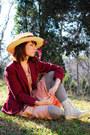 Light-pink-vintage-60s-dress-maroon-vintage-blazer-heather-gray-target-socks
