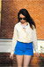 Button-down-vintage-blouse-leather-scallop-shorts