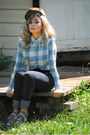 Black-high-waisted-jeans-brown-hunters-cap-vintage-hat-light-blue-gingham-vi