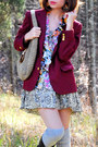 White-anthropologie-blouse-maroon-vintage-blazer-dark-khaki-free-people-dres