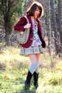 White-anthropologie-blouse-maroon-vintage-blazer-dark-khaki-free-people-dres