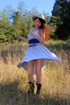 silver Anthropologie dress - blue vintage belt - brown farylrobin boots