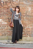 black Anthropologie dress - gray shirt - brown vintage - brown vintage shoes - w