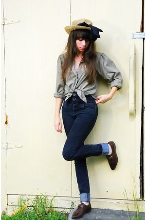 green vintage blouse - black bycorpus pants - brown vintage shoes - black vintag