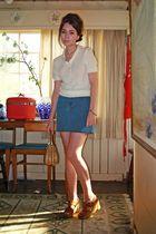 beige vintage sweater - blue Gap skirt - brown vintage shoes - brown vintage pur