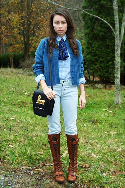 blue vintage cardigan - blue American Apparel shirt - blue bycorpus jeans - brow