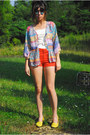 Lime-green-flats-vintage-shoes-carrot-orange-high-rise-romwe-shorts-teal-rou