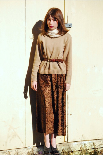 beige vintage sweater - brown vintage dress - white vintage scarf - brown vintag