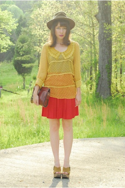 yellow sheer romwe blouse - red pleated vintage skirt