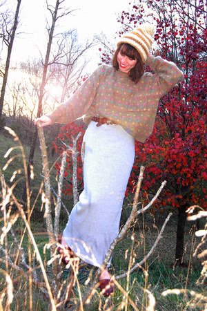 camel vintage sweater - heather gray vintage skirt - brown vintage belt - brown