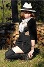 Black-vintage-top-black-skirt-black-socks-dark-khaki-vintage-bag-periwin