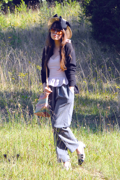 black vintage cardigan - pink Forever 21 top - silver vintage pants - blue vinta