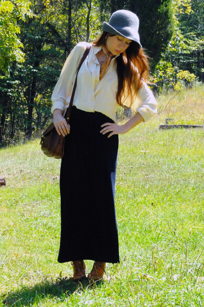 beige vintage blouse - black vintage skirt - brown vintage boots - orange vintag