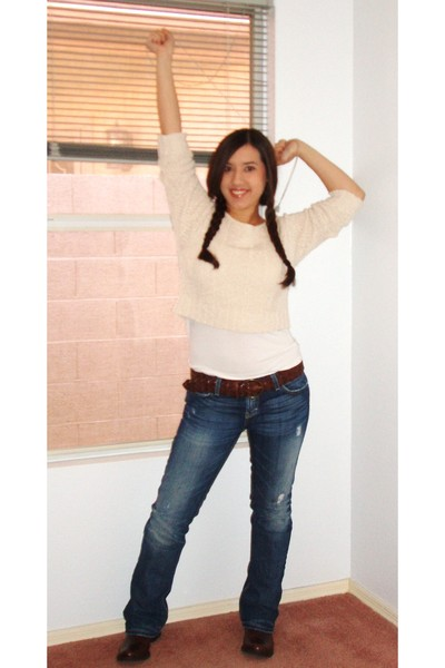 beige Forever 21 sweater - white Gap top - brown abercrombie and fitch belt - bl