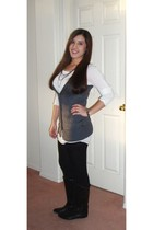 white Forever 21 shirt - gray Forever 21 vest - black Forever 21 tights - black