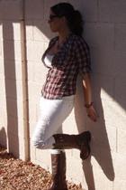 red Forever 21 shirt - white Forever 21 pants - brown Nordstroms Rack boots - bl