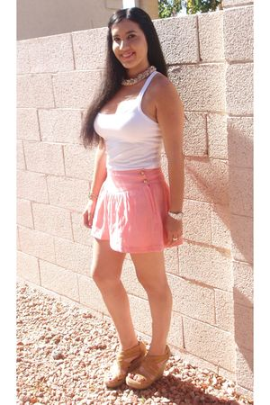 white Forever 21 top - pink H&M shorts - beige Nordstrom Rack shoes - pink Forev