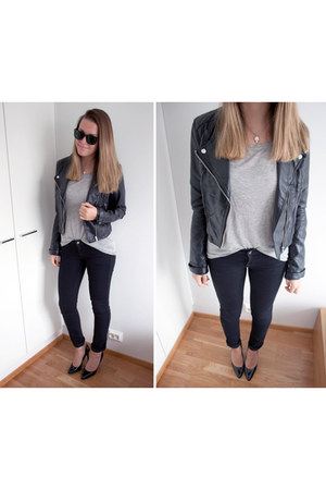 black H&M jacket - heather gray GINA TRICOT t-shirt