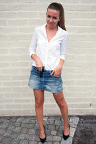 black H&M heels - black Ray Ban sunglasses - white Zara blouse