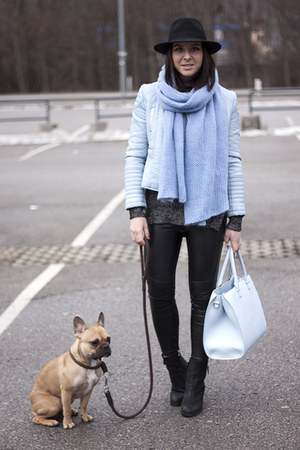 light blue leather Zara jacket - sky blue Zara scarf - light blue H&M bag