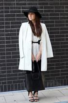 black Topshop hat - white vintage coat - black H&M leggings