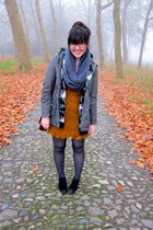 gray opaque JCrew tights - mustard ruffled lace Forever 21 dress